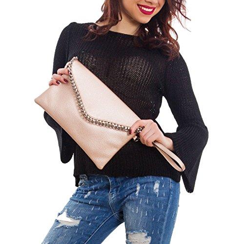 Toocool - Pochette donna borsa a mano catene busta tracolla borsa borsetta nuova A-5013 Bronzo