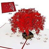 timmershabi Grußkarte 3D Pop up rot Ahorn Baum Karte Wunderbare Geschenke 15x 20cm