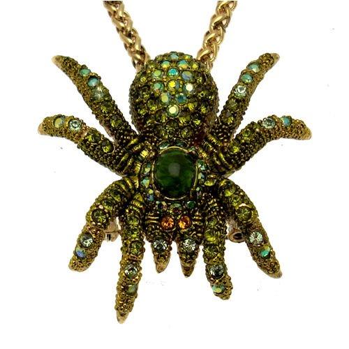 Acosta - Swarovski Kristalle Olivgrün - Spinne Halskette Anhänger/Brosche - vergoldet - Geschenkverpackung