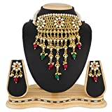 #7: The Luxor Gold Plated Pearls & Kundan Haram Mala Choker Necklace Set with Earrings for Women & Girls