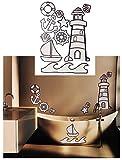 Unbekannt 10 Stück: XL Wandsticker -  glänzender Leuchtturm & Maritime Motive  - selbstklebend + wiederverwendbar - Aufkleber für Kinderzimmer - Wandtattoo / Sticker ..
