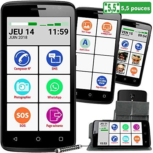 Mobiho-Essentiel Le SMART INITIAL 5,5 pouces, interface senior simplifiée pour faire l'essentiel -...