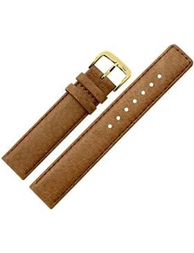 Uhrenarmband 12mm Leder braun Naht - inkl. Federstege & Werkzeug - Ersatzarmband aus echtem Schweinsleder für...