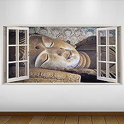 EXTRA GRANDE Marrón dormir Religión Buda vinilo 3D Póster - Mural Decoración - etiqueta de la pared -140cm x 70cm
