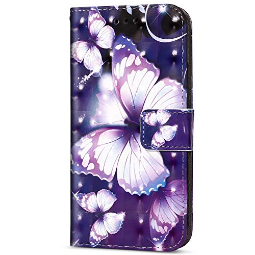 Herbests Kompatibel mit Sony Xperia XZ2 Glitzer Handy Hülle, Leder Flip Case Cover Klapphülle Handytasche Glänzend Leder Tasche Wallet Schutzhülle Magnetverschluss,Lila Schmetterling