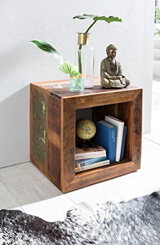 Home Collection24 Beistelltisch Delhi Shabby Chic Recycling Mango Massiv-Holz Ablagetisch Bootsholz   Kleiner Tisch für Wohnzimmer 45 x 45 x 35cm   Design Wohnzimmertisch Cube Form
