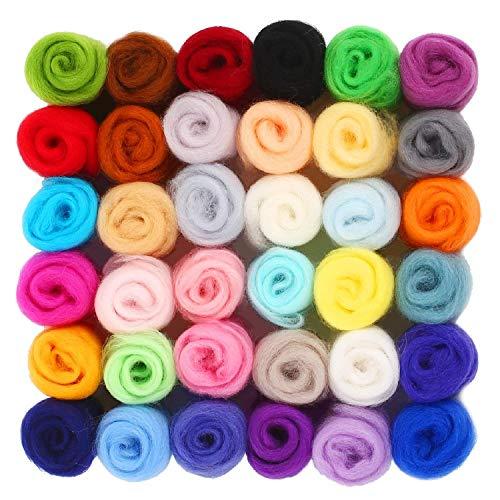 SOLEDI Filzwolle Märchenwolle geeignet für Nassfilzen und Trockenfilzen 36 Farben