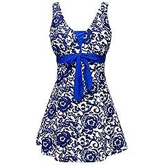 f5db062deb5f4 Ecupper Women's Plus Size Swimsuit One Piece Swim Dress Tummy .