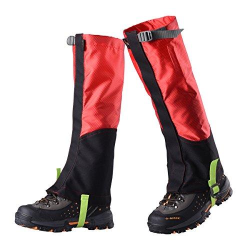 WINOMO Unisex Mountain Mountain Gaiters Débris Out Protect contre les roches Sharp pour la chasse Escalade à l'extérieur - M (Black Red)