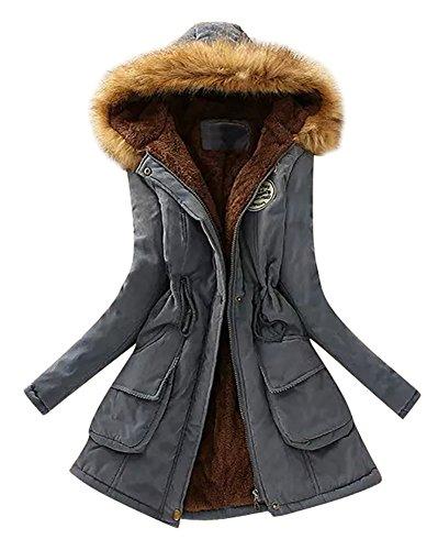 Missmao donne giacca lungo parka con cappuccio di pelliccia ecologica coulisse cappotto calda maniche lunghe mezclilla azul 2xl