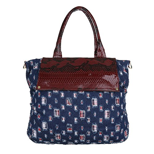 iTal-dEsiGn Damentasche Große Shopper Schultertasche Tragetasche Textil TA-A109 Rot Blau