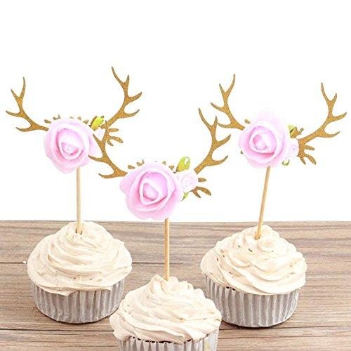 Astra Gourmet 24 Stück Rentier Geweih Blumen Cupcake Topper Cake Picks Weihnachten Baby Shower Geburtstag Party Dekoration