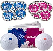 Winsharp Gender Reveal Golf Balls Exploding Golf Ball Set - 2 Balls - 1 Pink & Blue Plus Golf Tees and 20