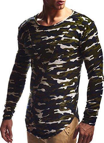 LEIF NELSON Herren oversize Longsleeve Pullover Hoodie Sweatshirt Basic Rundhals Langarm Shirt Hoody Sweater Vintage LN6323 S-XXL; Grš§e S, Camouflage (Vintage-sport-shirt Baumwolle)