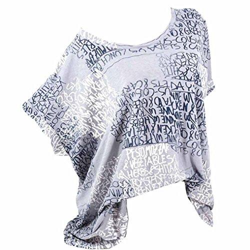 VJGOAL Damen T-Shirt, (S-5XL) Lose Tops Damen Mode Kurze Fledermaus Ärmel Bluse Casual Brief Print Pocket Sommer T-Shirts (4XL, Grau)