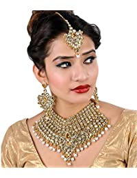 Lucky Jewellery LCT White Bridal Dulhan Wedding & Engagement Necklace Set With Mang Tikka Best For Bride Gold...