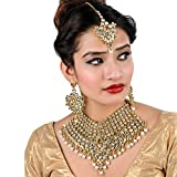 Lucky Jewellery LCT White Bridal Dulhan Dulhan Wedding & Engagement Necklace Set with Mang Tikka Best for Bride Gold White in Color (1815-L1SS-KD124-LCT-W-MOD)