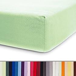 Lumaland Comfort Jersey Spannbettlaken 100 % Baumwolle mit Rundum-Gummizug 140 x 200 cm - 160 x 200 cm Minze