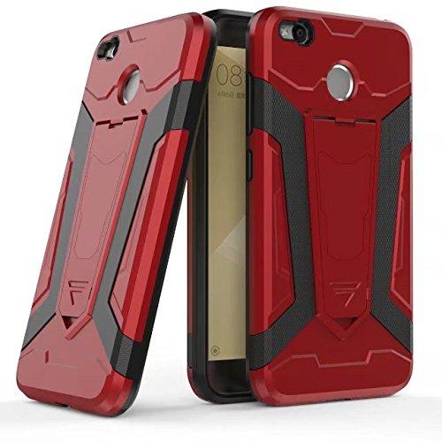 Neue Rüstung Tough Hybrid 2 in 1 Dual Layer Armor Defender PC Hard Shell Cover mit Kickstand [Shock Absorbtion Case] Für Xiaomi Hongmi Redmi 4X ( Color : Red ) Red