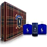 Polo Blue By Ralph Lauren For Men 3 Piece Set Includes: 4.2 Oz Eau De Toilette Spray + 4.2 Oz After Shave Pour...