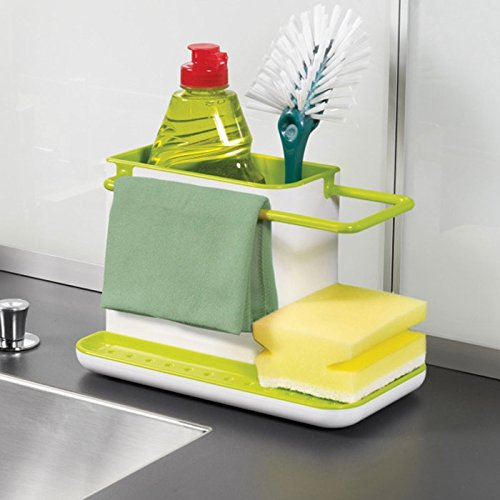 HOME CUBE ® 3 IN 1 Stand for Kitchen Sink for Dishwasher Liquid, Brush, Sponge, Soap Bar Etc.  available at amazon for Rs.285
