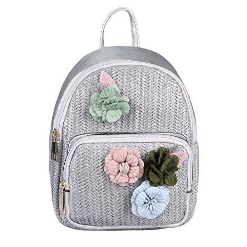 ital-Design Damen Blumen Mini-Rucksack Backpack Tasche Daypack Cityrucksack Leder Optik Schultertasche Flechtoptik Stadtrucksack Silber