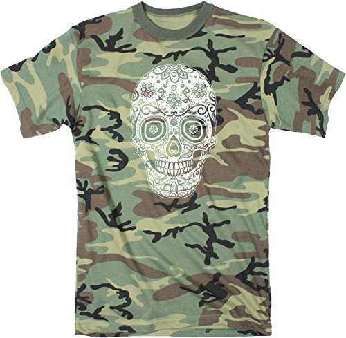 Crazy Dog Tshirts Mens Sugar Skull Tshirt Cinco De Mayo Cool Dia De Los Muertos Tee For Guys (Camo) XXL - Herren - XXL (T-shirt Dog Militär)