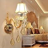 Design européen LED de luxe suspendu K9 lampes murales en cristal chambre tête de lit lampe de chevet applique murale...