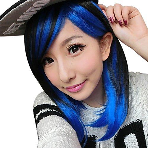 ne Schwarz Blau Cosplay Perücke kurze glatte Fluffy Haar-Perücken für Frauen (Two Tone Perücken)