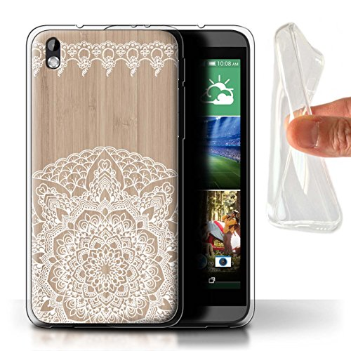 Stuff4® Gel TPU Hülle/Case für HTC Desire 816 / Bambus Muster/Fein Spitzenborte Holz Kollektion