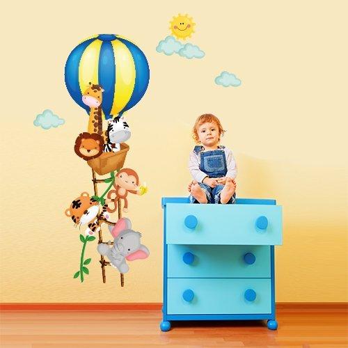 Wall Art R00253Wall Sticker per bambini mongolfiera il piccolo, Wallpaper, Multicolore, 30X 90X CM