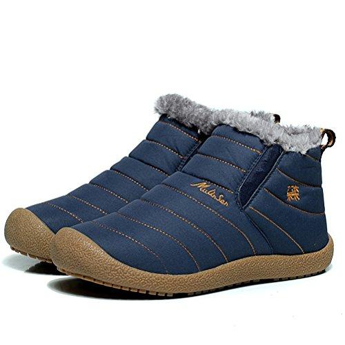 MatchLife Herren Fur Snow Ankle Schneestiefel Art 1-Blau