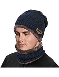 3a10f4b7154 Unisex Slouch Knitted Beanie Hat with Circle Scarf for Men Women Winter  Stretchy Skull Cap Thermal