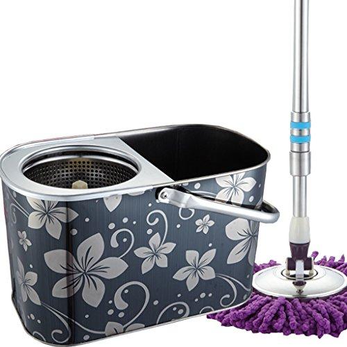 Acciaio inossidabile Double Barrel Mop girante benna Double Drive Metal Basket Mop girante microfibra capo (Acciaio Inossidabile Benna)