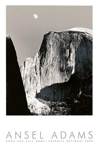 Mond und Half Dome von Ansel Adams Schwarz & Weiß Yosemite National Park Embossed Print Poster 61x 91,4 -