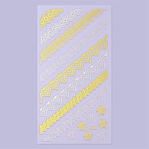 coulorbuttons 1Bogen Gold Silber Spitze Stil 3D Nail Sticker Nagel Aufkleber DIY Materialien LC487