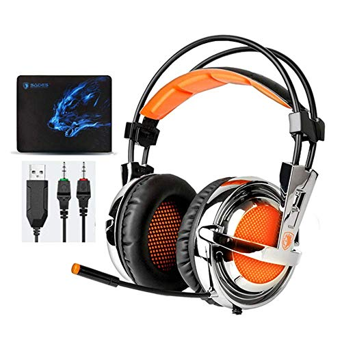 CHAOZHAOHENG Gaming-Headset mit Noise Cancelling-Mikrofon - LED-Licht, Stereo-Bass-Surround, Bass-Vibration - für Laptop und Tablet/Xbox One, PS4, PC/LOL/Jedi Survival