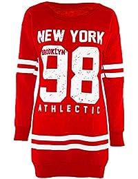 Ladies Newyork 98 Athlectic Oversized Long Sleeve Fleece Jumpers Mini Dress 8-22