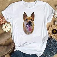 LuoMei Camiseta Estampada Blanca Camiseta de Manga Corta con Cuello en o para Mujer Camisa con Estampado de Algodón PuroComo se muestra, l