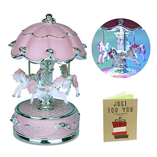 iGutech Karussell Musik Box Karussell Spieluhr (pink),Karussell Pferd Spieluhr ideal als Geschenk oder Deko