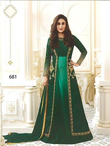 Yashraj Export Womwns Bollywood Designer Partywear Latest Collection Green Art Silk Anarkali...