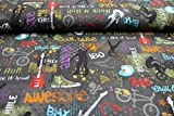 Pinidi Tessuto per bambini, a partire da 25 cm, jersey di ottima qualità, motivo: fantasia rock colorata su fondo grigio, a metro