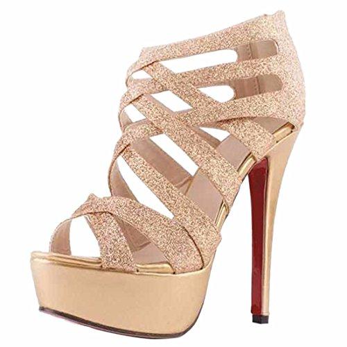 QIYUN.Z Elegante De Las Mujeres Roma Punta Abierta Lentejuelas Bling Del Hueco De La Cremallera De Los Zapatos De Tacon Alto De Las Sandalias