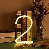 Jayvee LED Neon Digital Licht, 0 bis 9 Zehn Zahlen Lichtkunst Dekorative Wand Wort Plakat-Hintergrund-Raum-Shop Die Nummer 2