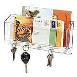 mDesign Briefablage und Schlüsselleiste - für ordentliche und platzsparende Aufbewahrung von Schlüssel, Briefe, Prospekte - Schlüsselbrett mit Ablage, unterteilt - Farbe: durchsichtig