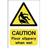 Hazard Sign: CAUTION Floor slippery when wet A5 sign on Vinyl Back sticky