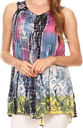 Sakkas 87131 - Melanie Tie Dye Batik Tank mit Pailletten und Stickerei - Navy - OS -