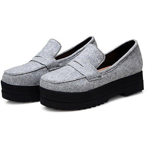 AllhqFashion Damen Blend-Materialien Rein Ziehen Auf Rund Zehe Pumps Schuhe Hellgrau