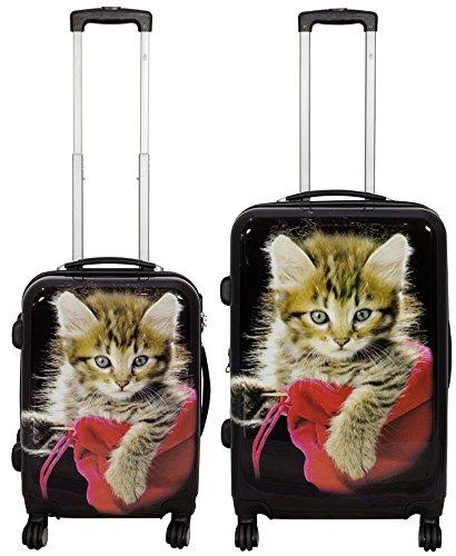 KoTaRu Designerkoffer Mieze-Katze Kofferset Trolley Koffer Reisekoffer Bordgepäck, Grösse:L & S