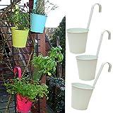 3er Set Hängetöpfe Zink Balkon Blumentopf hängend Balkontopf Pflanztopf zum hängen aus Metall in verschiedenen Sommerfarben (3 x weiß)